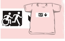 Accessible Means of Egress Icon Exit Sign Wheelchair Wheelie Running Man Symbol by Lee Wilson PWD Disability Emergency Evacuation Kids T-shirt 269