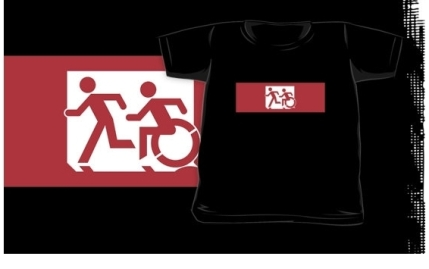 Accessible Means of Egress Icon Exit Sign Wheelchair Wheelie Running Man Symbol by Lee Wilson PWD Disability Emergency Evacuation Kids T-shirt 27