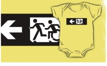 Accessible Means of Egress Icon Exit Sign Wheelchair Wheelie Running Man Symbol by Lee Wilson PWD Disability Emergency Evacuation Kids T-shirt 270