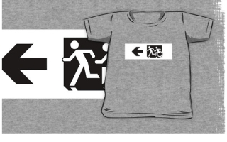 Accessible Means of Egress Icon Exit Sign Wheelchair Wheelie Running Man Symbol by Lee Wilson PWD Disability Emergency Evacuation Kids T-shirt 278