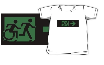 Accessible Means of Egress Icon Exit Sign Wheelchair Wheelie Running Man Symbol by Lee Wilson PWD Disability Emergency Evacuation Kids T-shirt 28