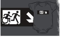 Accessible Means of Egress Icon Exit Sign Wheelchair Wheelie Running Man Symbol by Lee Wilson PWD Disability Emergency Evacuation Kids T-shirt 281
