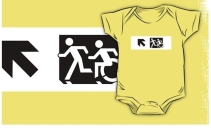 Accessible Means of Egress Icon Exit Sign Wheelchair Wheelie Running Man Symbol by Lee Wilson PWD Disability Emergency Evacuation Kids T-shirt 282
