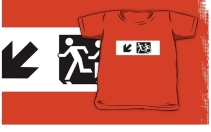 Accessible Means of Egress Icon Exit Sign Wheelchair Wheelie Running Man Symbol by Lee Wilson PWD Disability Emergency Evacuation Kids T-shirt 284