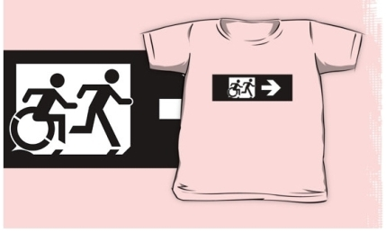 Accessible Means of Egress Icon Exit Sign Wheelchair Wheelie Running Man Symbol by Lee Wilson PWD Disability Emergency Evacuation Kids T-shirt 285