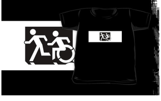 Accessible Means of Egress Icon Exit Sign Wheelchair Wheelie Running Man Symbol by Lee Wilson PWD Disability Emergency Evacuation Kids T-shirt 286