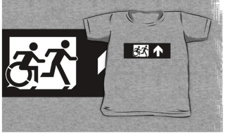 Accessible Means of Egress Icon Exit Sign Wheelchair Wheelie Running Man Symbol by Lee Wilson PWD Disability Emergency Evacuation Kids T-shirt 287