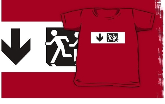 Accessible Means of Egress Icon Exit Sign Wheelchair Wheelie Running Man Symbol by Lee Wilson PWD Disability Emergency Evacuation Kids T-shirt 288
