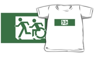 Accessible Means of Egress Icon Exit Sign Wheelchair Wheelie Running Man Symbol by Lee Wilson PWD Disability Emergency Evacuation Kids T-shirt 289