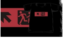 Accessible Means of Egress Icon Exit Sign Wheelchair Wheelie Running Man Symbol by Lee Wilson PWD Disability Emergency Evacuation Kids T-shirt 290