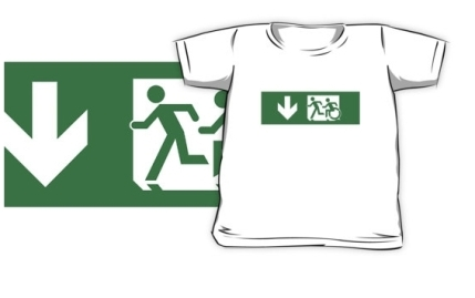 Accessible Means of Egress Icon Exit Sign Wheelchair Wheelie Running Man Symbol by Lee Wilson PWD Disability Emergency Evacuation Kids T-shirt 291