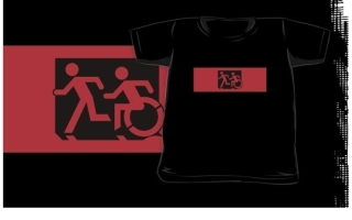 Accessible Means of Egress Icon Exit Sign Wheelchair Wheelie Running Man Symbol by Lee Wilson PWD Disability Emergency Evacuation Kids T-shirt 292