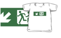 Accessible Means of Egress Icon Exit Sign Wheelchair Wheelie Running Man Symbol by Lee Wilson PWD Disability Emergency Evacuation Kids T-shirt 293