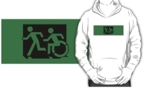 Accessible Means of Egress Icon Exit Sign Wheelchair Wheelie Running Man Symbol by Lee Wilson PWD Disability Emergency Evacuation Kids T-shirt 3