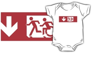 Accessible Means of Egress Icon Exit Sign Wheelchair Wheelie Running Man Symbol by Lee Wilson PWD Disability Emergency Evacuation Kids T-shirt 32