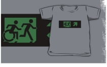 Accessible Means of Egress Icon Exit Sign Wheelchair Wheelie Running Man Symbol by Lee Wilson PWD Disability Emergency Evacuation Kids T-shirt 35