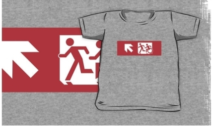 Accessible Means of Egress Icon Exit Sign Wheelchair Wheelie Running Man Symbol by Lee Wilson PWD Disability Emergency Evacuation Kids T-shirt 36