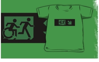 Accessible Means of Egress Icon Exit Sign Wheelchair Wheelie Running Man Symbol by Lee Wilson PWD Disability Emergency Evacuation Kids T-shirt 37