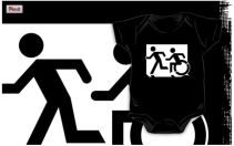 Accessible Means of Egress Icon Exit Sign Wheelchair Wheelie Running Man Symbol by Lee Wilson PWD Disability Emergency Evacuation Kids T-shirt 4
