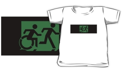 Accessible Means of Egress Icon Exit Sign Wheelchair Wheelie Running Man Symbol by Lee Wilson PWD Disability Emergency Evacuation Kids T-shirt 41