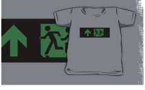 Accessible Means of Egress Icon Exit Sign Wheelchair Wheelie Running Man Symbol by Lee Wilson PWD Disability Emergency Evacuation Kids T-shirt 43