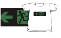 Accessible Means of Egress Icon Exit Sign Wheelchair Wheelie Running Man Symbol by Lee Wilson PWD Disability Emergency Evacuation Kids T-shirt 45