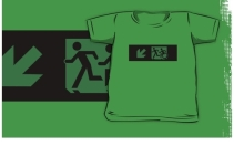 Accessible Means of Egress Icon Exit Sign Wheelchair Wheelie Running Man Symbol by Lee Wilson PWD Disability Emergency Evacuation Kids T-shirt 49