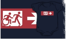 Accessible Means of Egress Icon Exit Sign Wheelchair Wheelie Running Man Symbol by Lee Wilson PWD Disability Emergency Evacuation Kids T-shirt 50