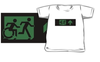 Accessible Means of Egress Icon Exit Sign Wheelchair Wheelie Running Man Symbol by Lee Wilson PWD Disability Emergency Evacuation Kids T-shirt 51