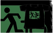 Accessible Means of Egress Icon Exit Sign Wheelchair Wheelie Running Man Symbol by Lee Wilson PWD Disability Emergency Evacuation Kids T-shirt 53