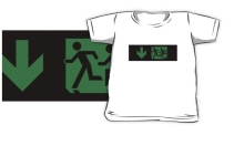 Accessible Means of Egress Icon Exit Sign Wheelchair Wheelie Running Man Symbol by Lee Wilson PWD Disability Emergency Evacuation Kids T-shirt 54