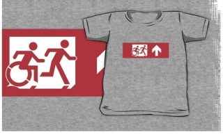 Accessible Means of Egress Icon Exit Sign Wheelchair Wheelie Running Man Symbol by Lee Wilson PWD Disability Emergency Evacuation Kids T-shirt 55