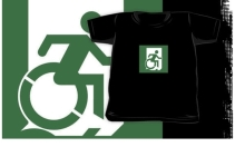 Accessible Means of Egress Icon Exit Sign Wheelchair Wheelie Running Man Symbol by Lee Wilson PWD Disability Emergency Evacuation Kids T-shirt 57