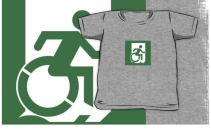 Accessible Means of Egress Icon Exit Sign Wheelchair Wheelie Running Man Symbol by Lee Wilson PWD Disability Emergency Evacuation Kids T-shirt 58