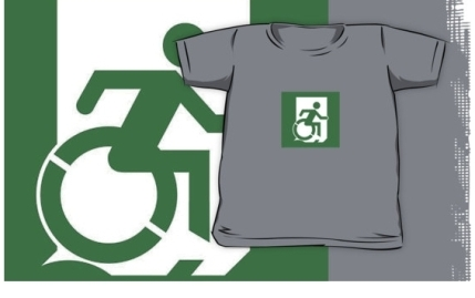 Accessible Means of Egress Icon Exit Sign Wheelchair Wheelie Running Man Symbol by Lee Wilson PWD Disability Emergency Evacuation Kids T-shirt 59