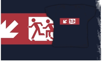 Accessible Means of Egress Icon Exit Sign Wheelchair Wheelie Running Man Symbol by Lee Wilson PWD Disability Emergency Evacuation Kids T-shirt 6