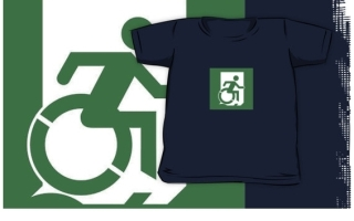 Accessible Means of Egress Icon Exit Sign Wheelchair Wheelie Running Man Symbol by Lee Wilson PWD Disability Emergency Evacuation Kids T-shirt 60