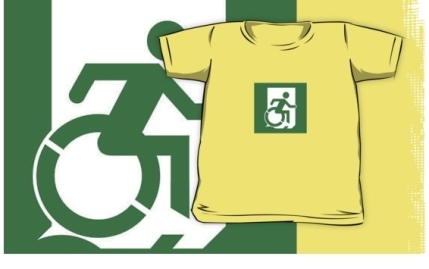 Accessible Means of Egress Icon Exit Sign Wheelchair Wheelie Running Man Symbol by Lee Wilson PWD Disability Emergency Evacuation Kids T-shirt 61
