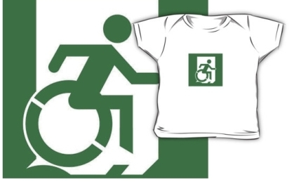 Accessible Means of Egress Icon Exit Sign Wheelchair Wheelie Running Man Symbol by Lee Wilson PWD Disability Emergency Evacuation Kids T-shirt 62