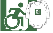 Accessible Means of Egress Icon Exit Sign Wheelchair Wheelie Running Man Symbol by Lee Wilson PWD Disability Emergency Evacuation Kids T-shirt 63