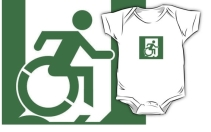 Accessible Means of Egress Icon Exit Sign Wheelchair Wheelie Running Man Symbol by Lee Wilson PWD Disability Emergency Evacuation Kids T-shirt 64