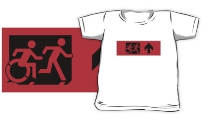 Accessible Means of Egress Icon Exit Sign Wheelchair Wheelie Running Man Symbol by Lee Wilson PWD Disability Emergency Evacuation Kids T-shirt 65