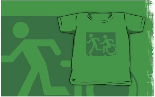 Accessible Means of Egress Icon Exit Sign Wheelchair Wheelie Running Man Symbol by Lee Wilson PWD Disability Emergency Evacuation Kids T-shirt 67