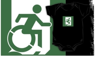 Accessible Means of Egress Icon Exit Sign Wheelchair Wheelie Running Man Symbol by Lee Wilson PWD Disability Emergency Evacuation Kids T-shirt 68