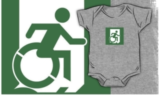 Accessible Means of Egress Icon Exit Sign Wheelchair Wheelie Running Man Symbol by Lee Wilson PWD Disability Emergency Evacuation Kids T-shirt 69