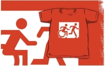 Accessible Means of Egress Icon Exit Sign Wheelchair Wheelie Running Man Symbol by Lee Wilson PWD Disability Emergency Evacuation Kids T-shirt 7