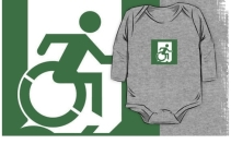 Accessible Means of Egress Icon Exit Sign Wheelchair Wheelie Running Man Symbol by Lee Wilson PWD Disability Emergency Evacuation Kids T-shirt 70