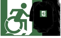 Accessible Means of Egress Icon Exit Sign Wheelchair Wheelie Running Man Symbol by Lee Wilson PWD Disability Emergency Evacuation Kids T-shirt 71