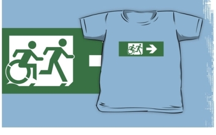 Accessible Means of Egress Icon Exit Sign Wheelchair Wheelie Running Man Symbol by Lee Wilson PWD Disability Emergency Evacuation Kids T-shirt 73