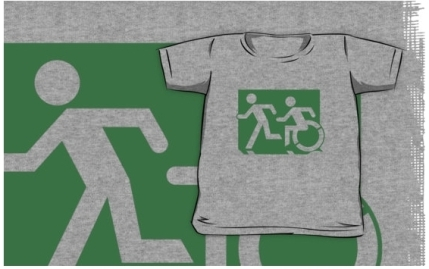 Accessible Means of Egress Icon Exit Sign Wheelchair Wheelie Running Man Symbol by Lee Wilson PWD Disability Emergency Evacuation Kids T-shirt 74